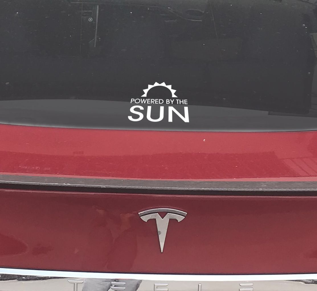 Powered By The Sun Solar Sticker For Your Electric Car Seen Here On A Tesla P100d Stickers Hawaiian Islands Sun Solar [ 1022 x 1113 Pixel ]