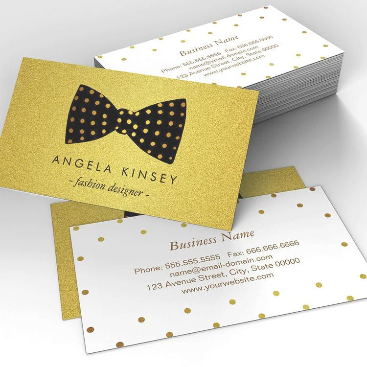 Modern Black And Gold Glitter Dots Ribbon Bow Business Card Zazzle Com Ribbon Bows Custom Business Cards Quality Cards
