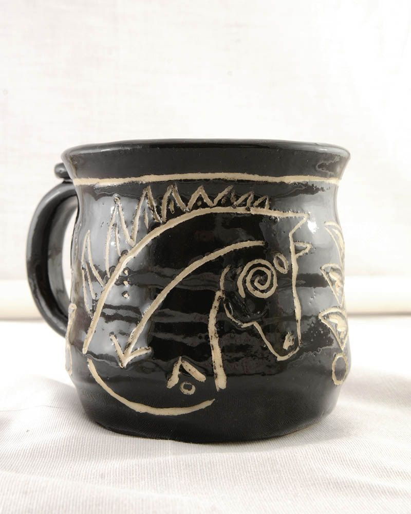 Sgraffito Design Hand Thrown Carved Native American Coffee Cup by