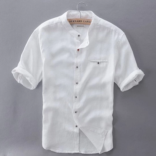 2017 Pure Linen Shirts Men Short Sleeve Solid White Men Shirt Brand Su Cgabuy Linen Shirt Men Men Shirt Style Mens White Dress Shirt