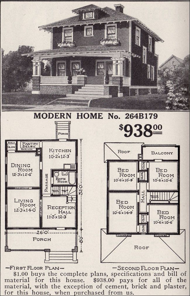 Artistic Foursquare Sears Modern Home No 264b179 Pyramidal Roof Craftsman Style Detail Woodland Four Square Homes Vintage House Plans House Plans