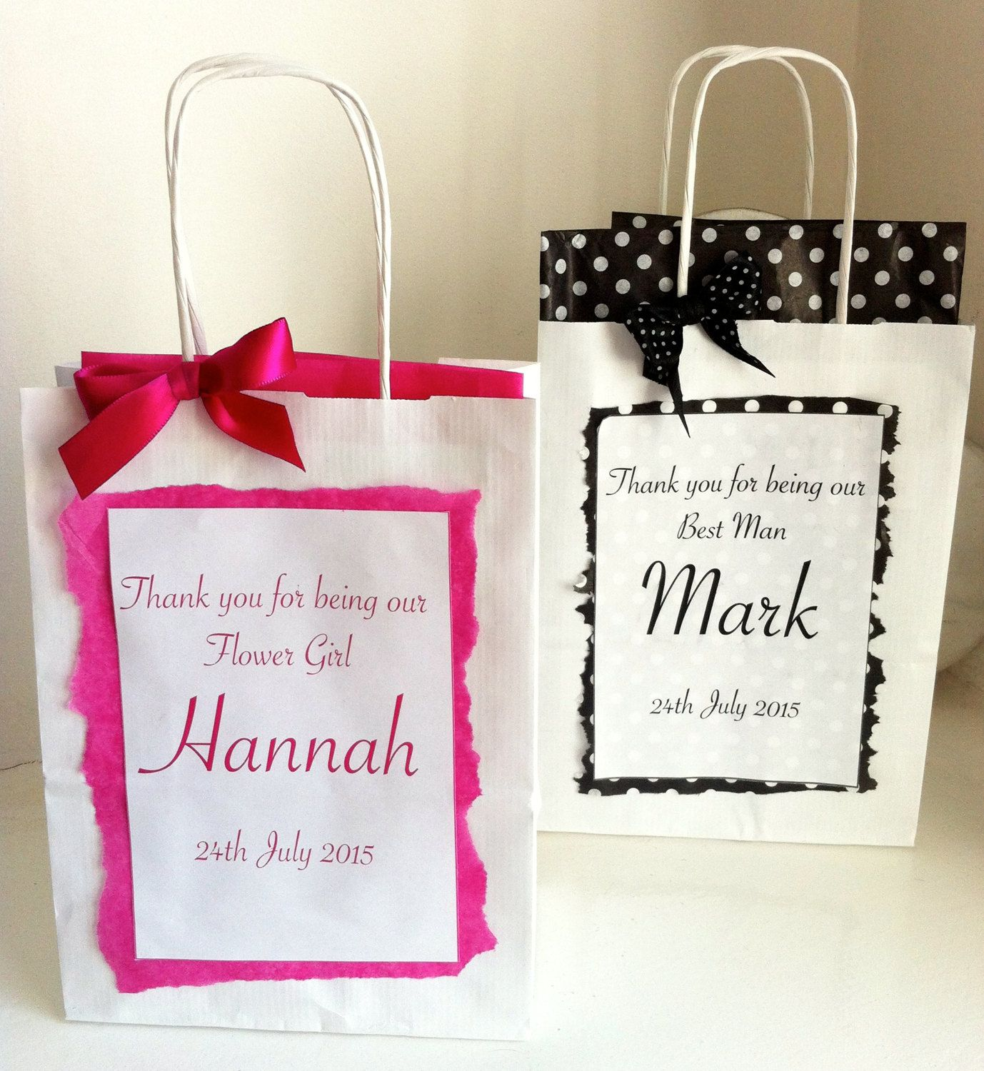 Personalised Paper Wedding Gift Bags With Organza Bow Tissue