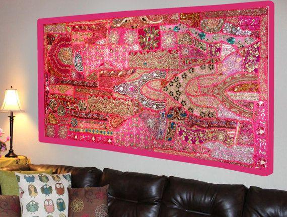 Indian Home Decor Handmade Wall Hanging Zardozi work Tapestry