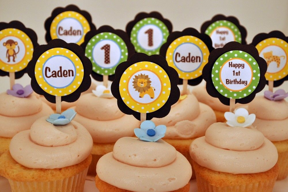 King of the Jungle Cupcake Toppers Happy Birthday Party Decorations