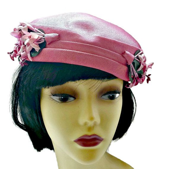 Vintage Bright Pink Hat Flowers Womens Pillbox Approximate measurements   20.50 inch in diameter Hallmark - 95b26065b524