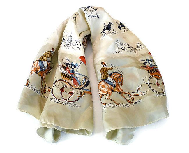 Italian Silk Scarf, Equestrian Horse, Victorian Man Woman, Novelty Print, Made in Italy, Hand Rolled, Vintage Scarves, Fashion Accessory