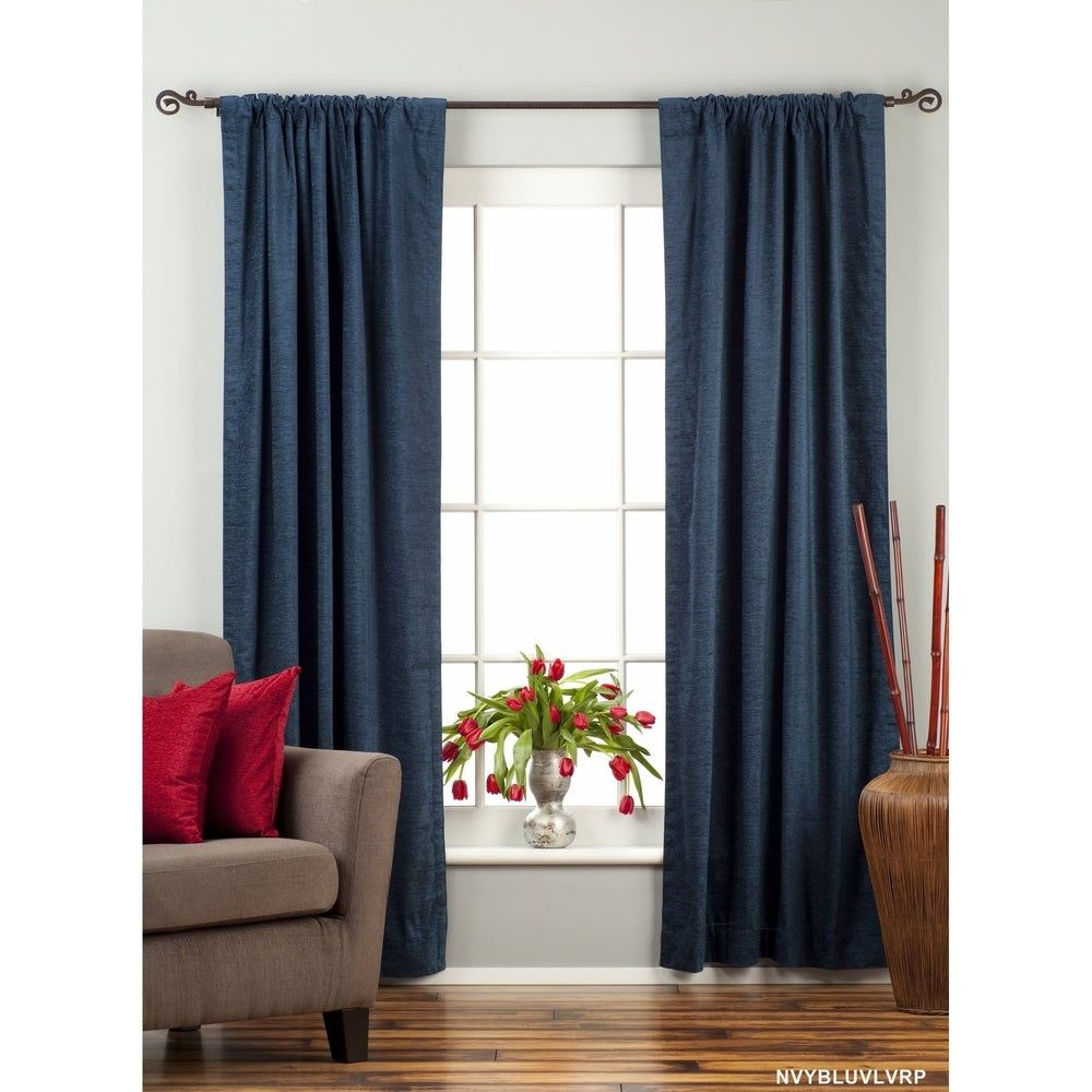 Navy Blue Rod Pocket Velvet Curtain Drape Panel Piece