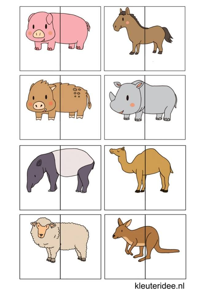 This is an image of Hilaire Animal Matching Game Printable