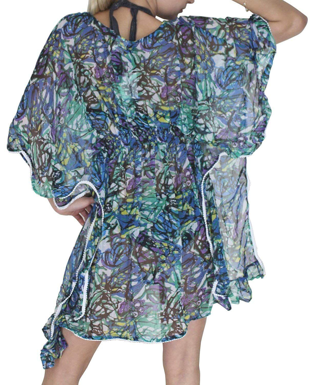 22007478cba La Leela Women s Plus Chiffon Beach Bikini Swimsuit Swimwear Cover up Kimono  Loose Blouse     Click image to review more details.
