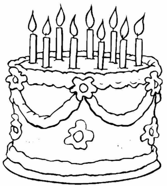 Kids Clip Art Birthday Cake Coloring