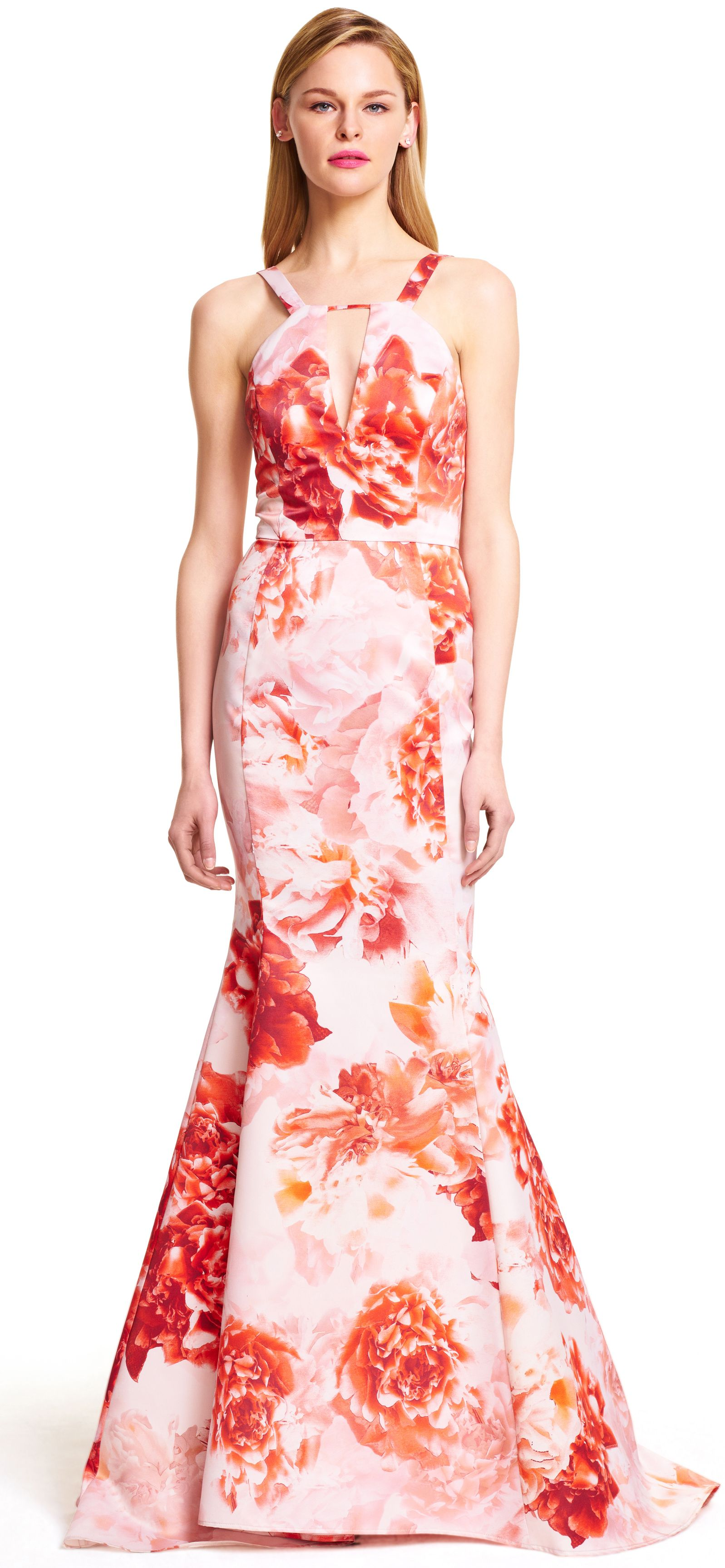 Halter Floral Printed Satin Mermaid Gown with Train | mog wear ...