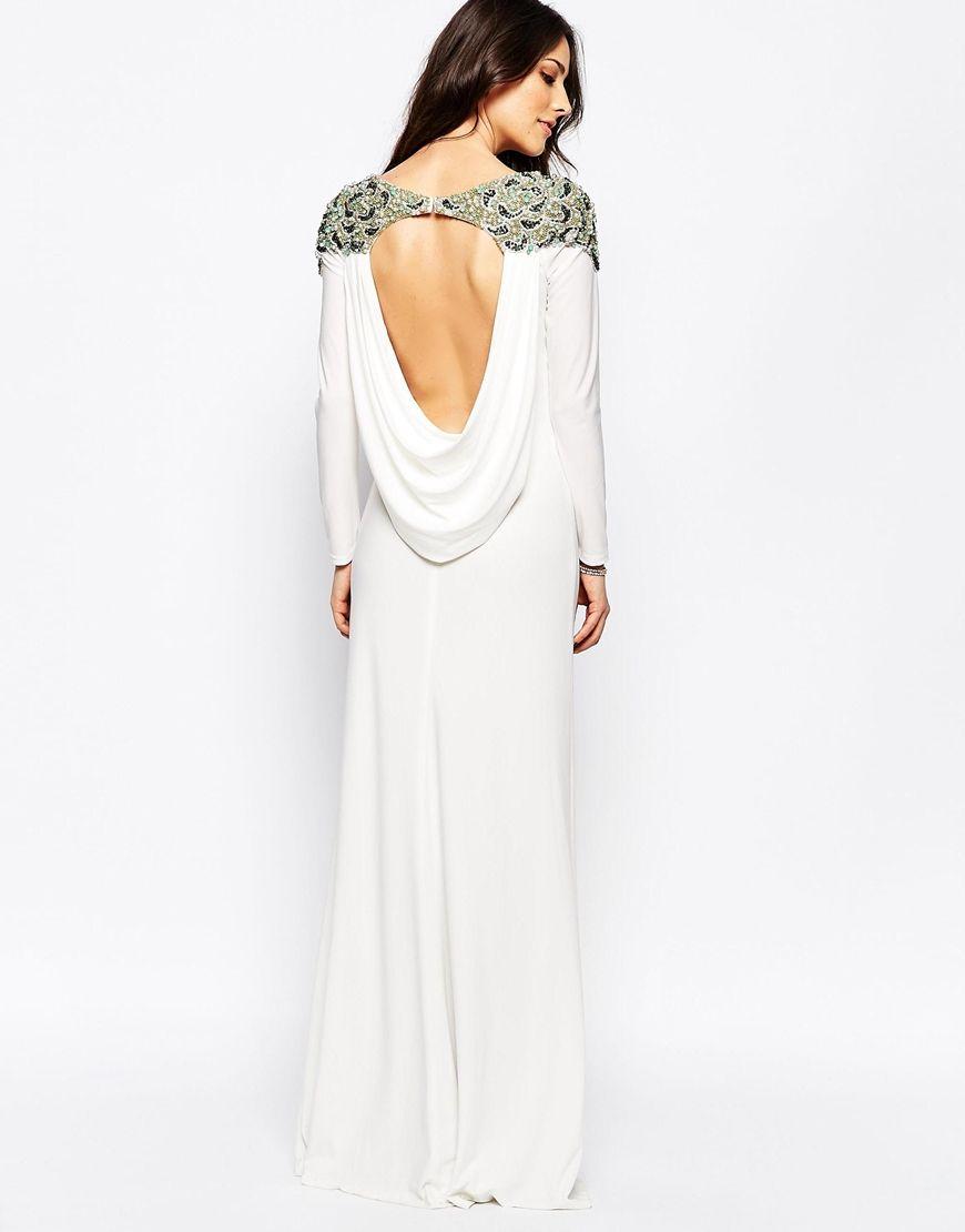 Embellished shoulder long sleeve dress