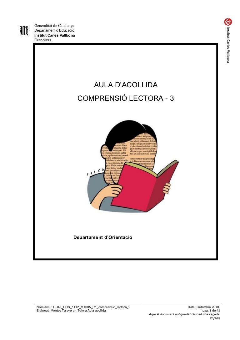 Dori Dos 1112 Mt005 R1 Comprensio Lectora 3 Actividades De Letras Lectores Reglas De La Biblioteca