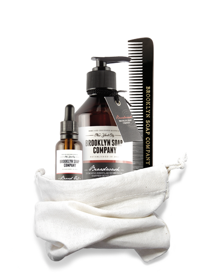 Brooklyn Soap, Beard Bag - 39.30 Euros. All in one, anti-shaving gift.  This includes beard wash, soap and come, comes complete with washbag.
