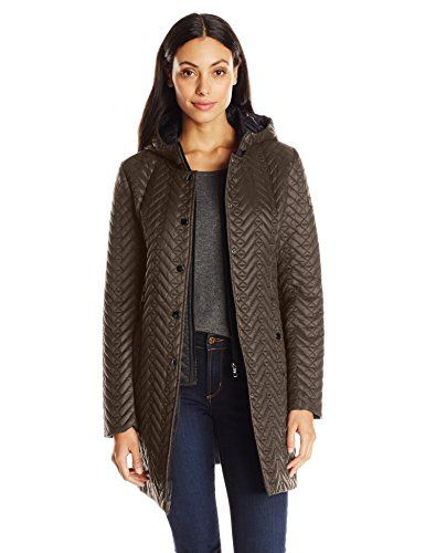Larry Levine Women's Quilted Jacket with Hood -- Click image for more  details.