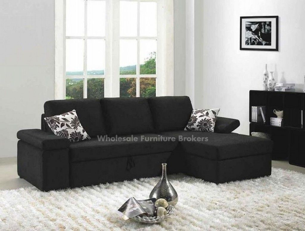 Condo Black Sleeper Sectional Sofa By True Contemporary Modern
