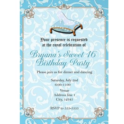 Cinderella Royal Slipper Princess Gold Blue Party Invitation This is
