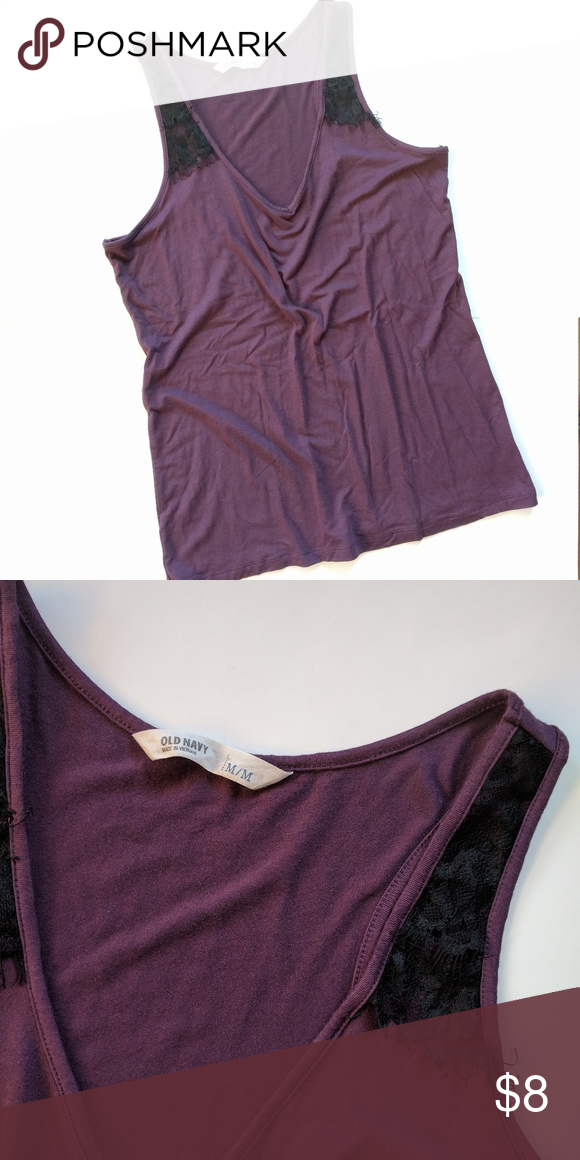 186ab2bdeb Old navy purple lace trimmed tank top Pretty eggplant purple color with  black lace detail at shoulders only. In excellent