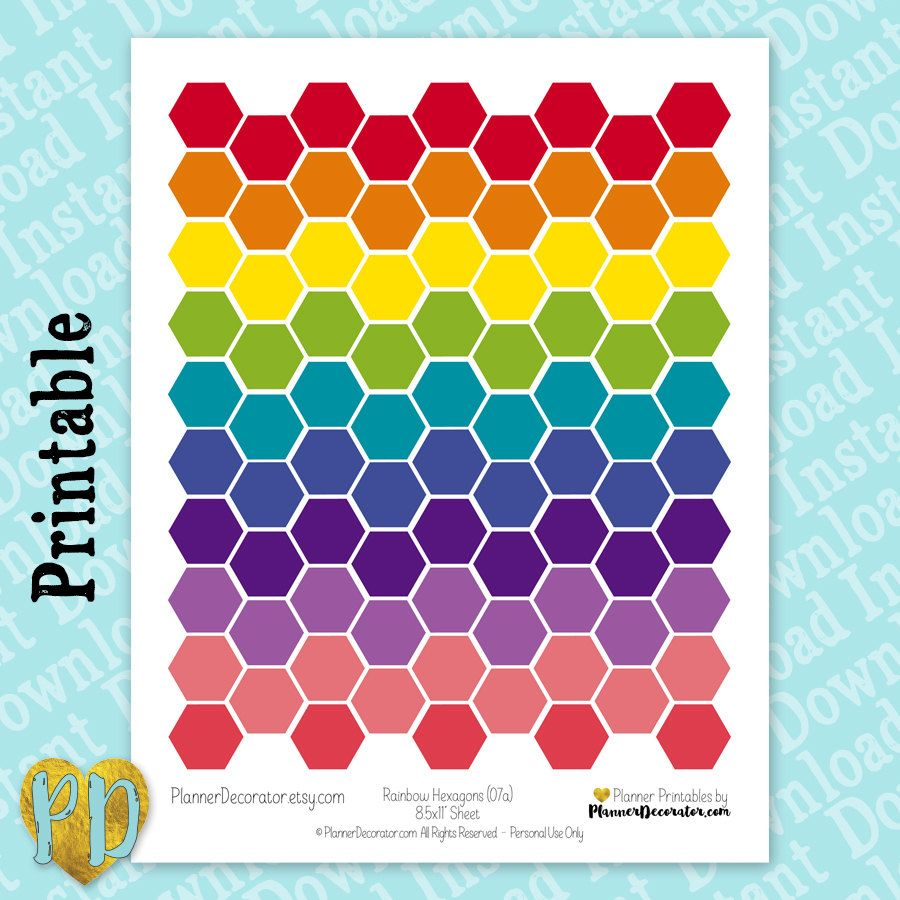 Rainbow hexagon printable planner stickers large hexagon stickers