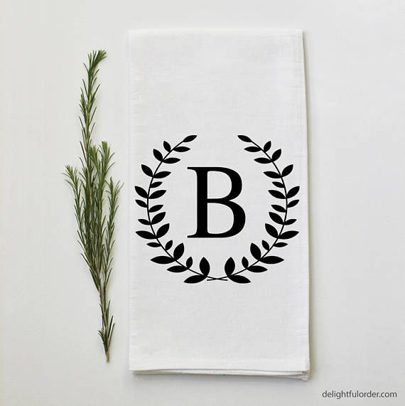 Embroidered Towels For Wedding Gift: Personalized Monogram Tea Towel Custom Wedding Gift