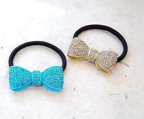 colorful rhinestones | Candy Color Rhinestone Ribbon Ponytail Holder 3