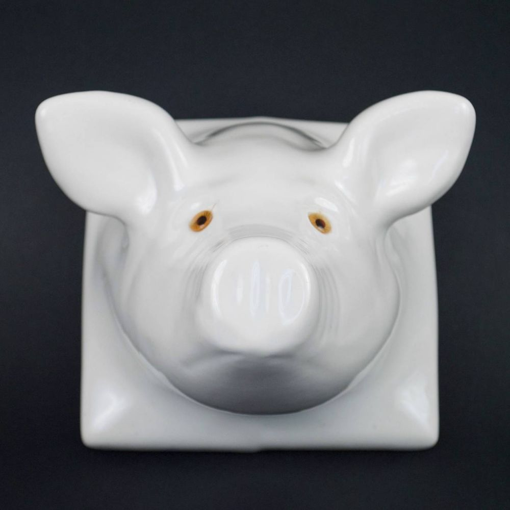 White Ceramic Pig Head Wall Mount Kitchen Towel Apron Hook Hanger Country  Farm