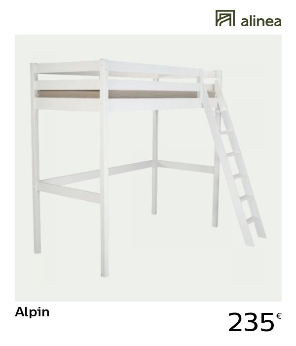 Alinea Alpin Lit Mezzanine 1 Place Blanc Avec Sommier 90x200cm Meubles Chambre Lits Alinea Decoration Lit Som Mobilier De Salon Meuble Deco Lit