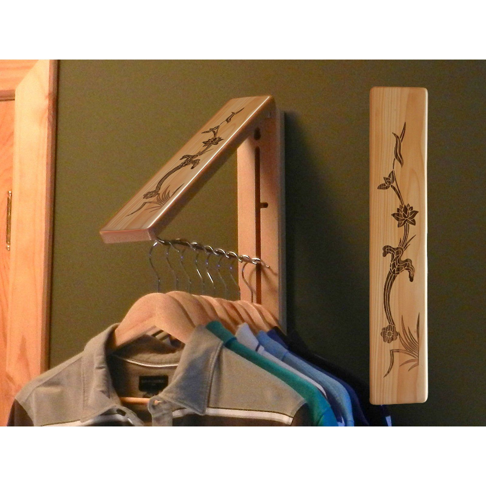 Wooden Foldaway Clothes Hanger With Attractive Lotus Leaf