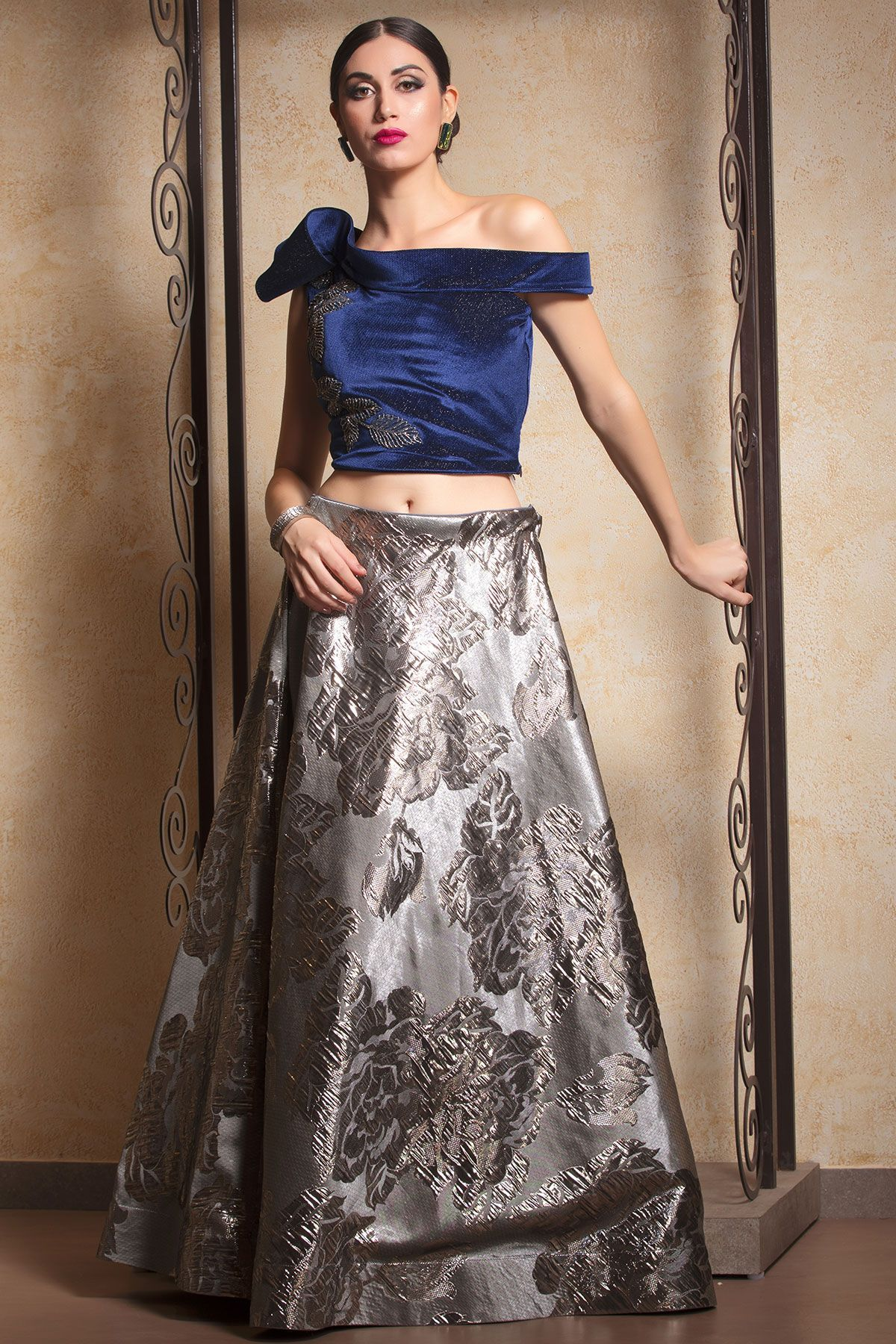 b8214e9be02c65 Buy Grey Silk Bead Embroidered Crop Top Lehenga Online