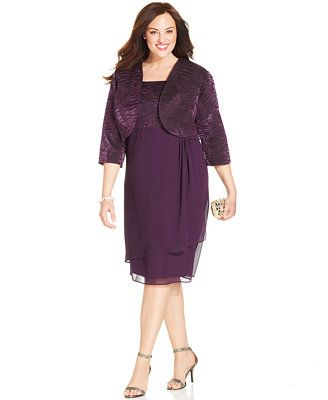 R M Richards Plus Size Textured Crepe Dress And Jacket Mom