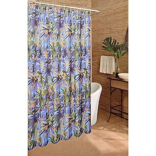 Caribbean Joe Bali Tropical Floral Flowers Fabric Shower Curtain ...