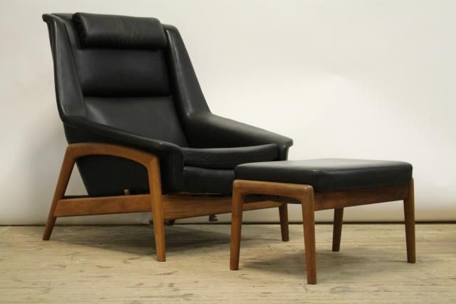 7318d8074 Swedish Profile-4 Armchair with Stool by Folke Ohlsson for Dux