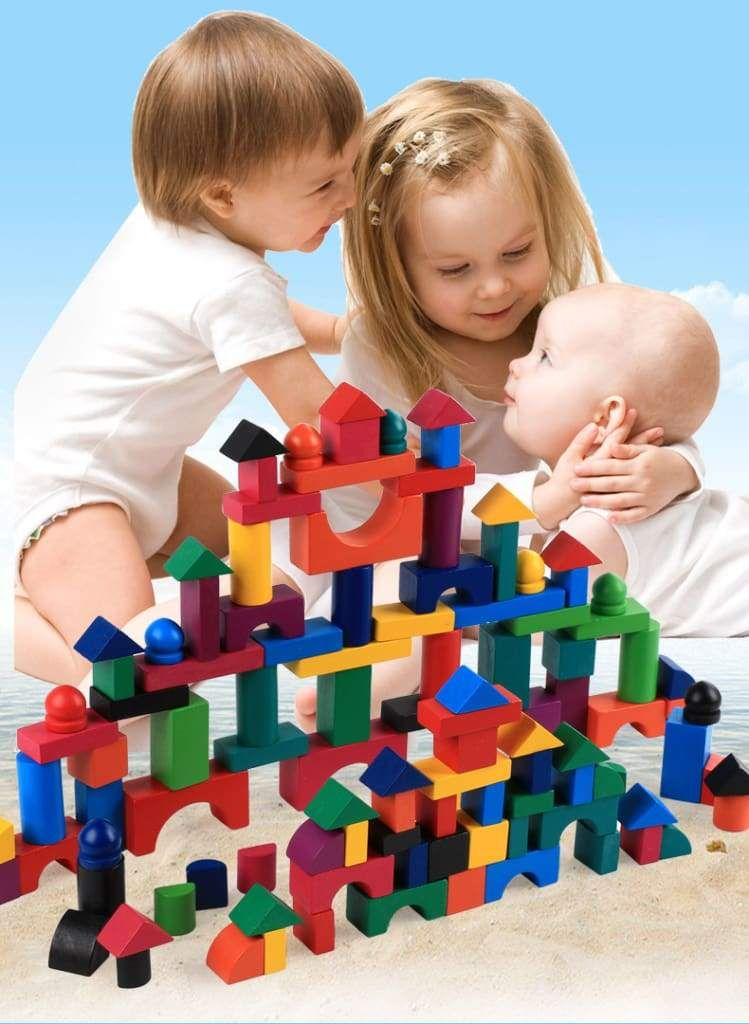 112pcs/Set Wooden Colorful Rainbow Domino Blocks Building