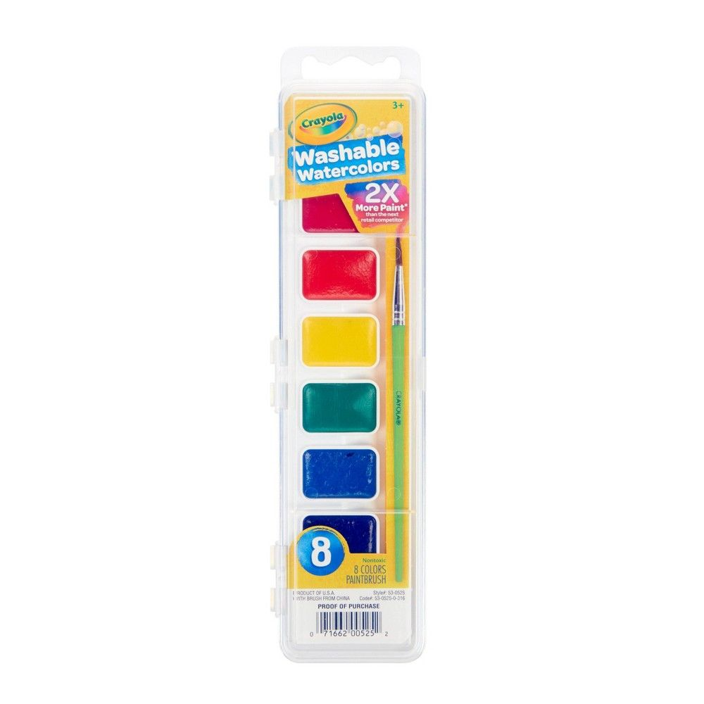 Crayola Watercolor Paints With Brush Washable 8ct Paint Set Pen
