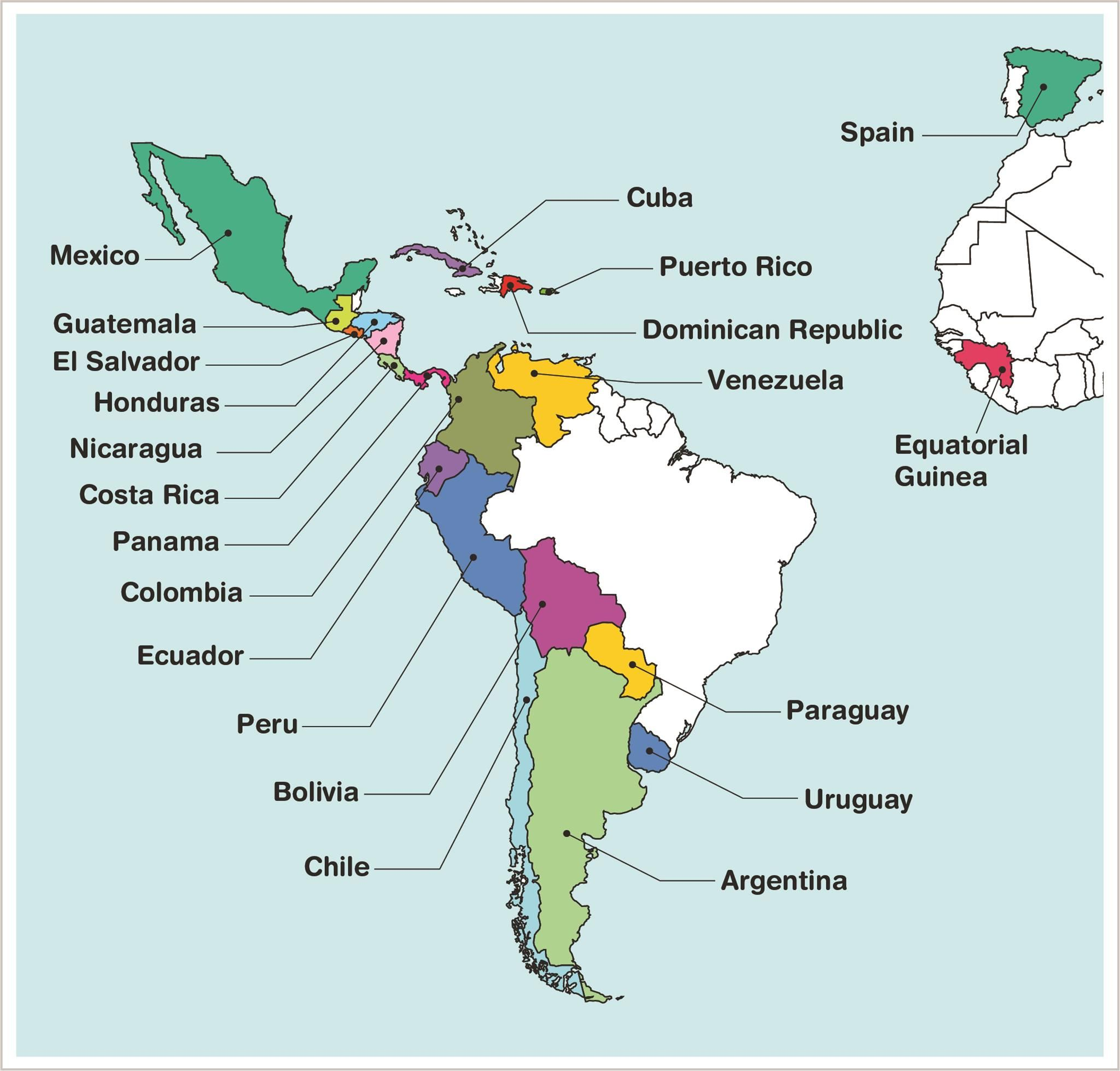 Map Of Spanish Speaking Countries And Capitals Printables