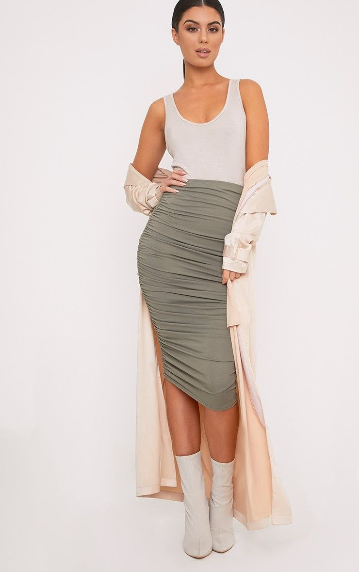 Taupe Second Skin Ruched Midaxi Skirt Pretty Little Thing Discounts Largest Supplier For Sale Outlet Visa Payment Buy Cheap 2018 New Prices Online JAkOUU2