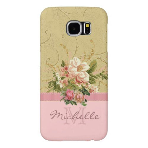 Elegant Vintage Pink Floral Rose Monogram Name Samsung Galaxy Case - Talk in style.