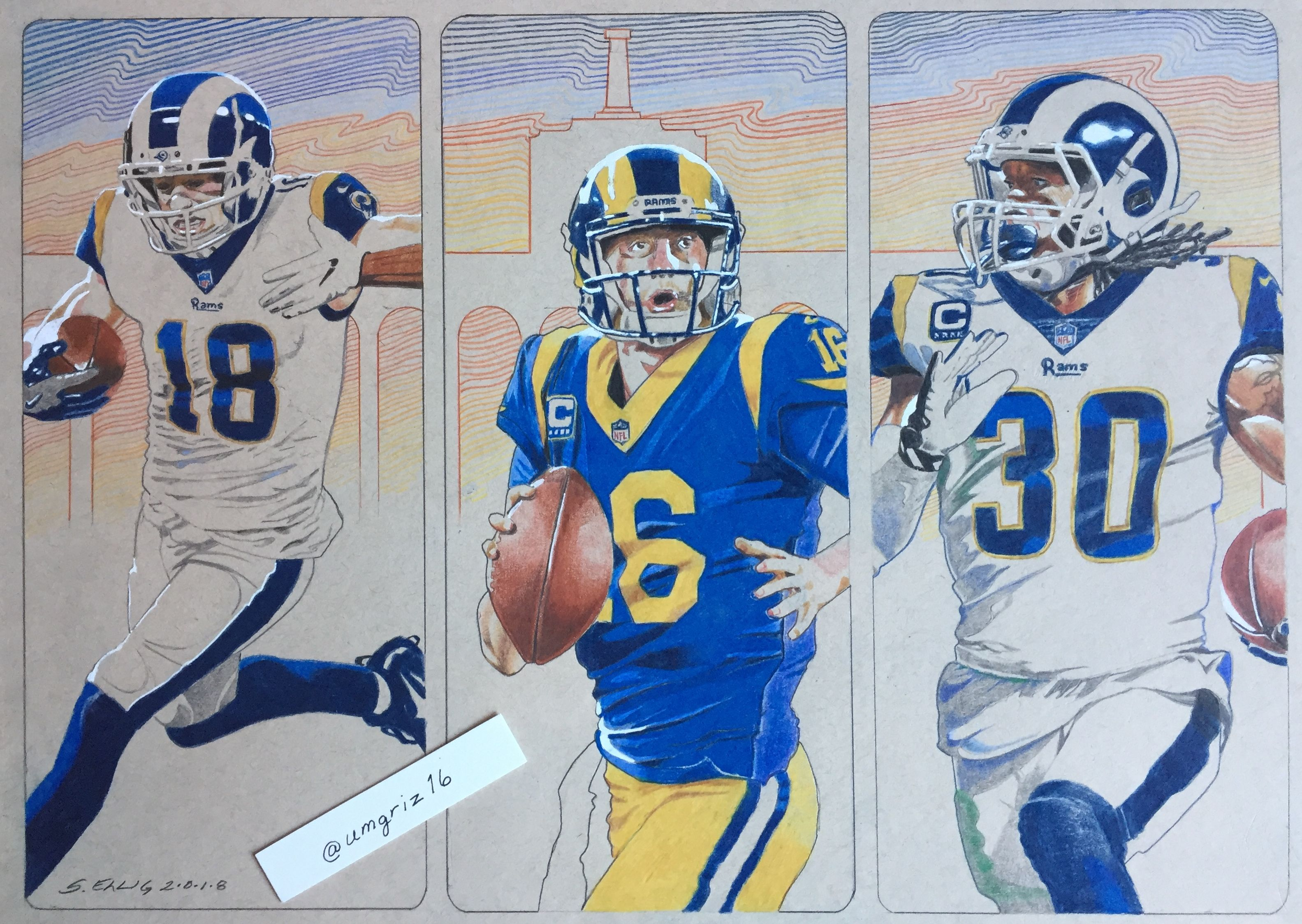Cooper Kupp Jared Goff Todd Gurley La Rams By Scott Ellig Jared Goff Nfl Football Todd Gurley