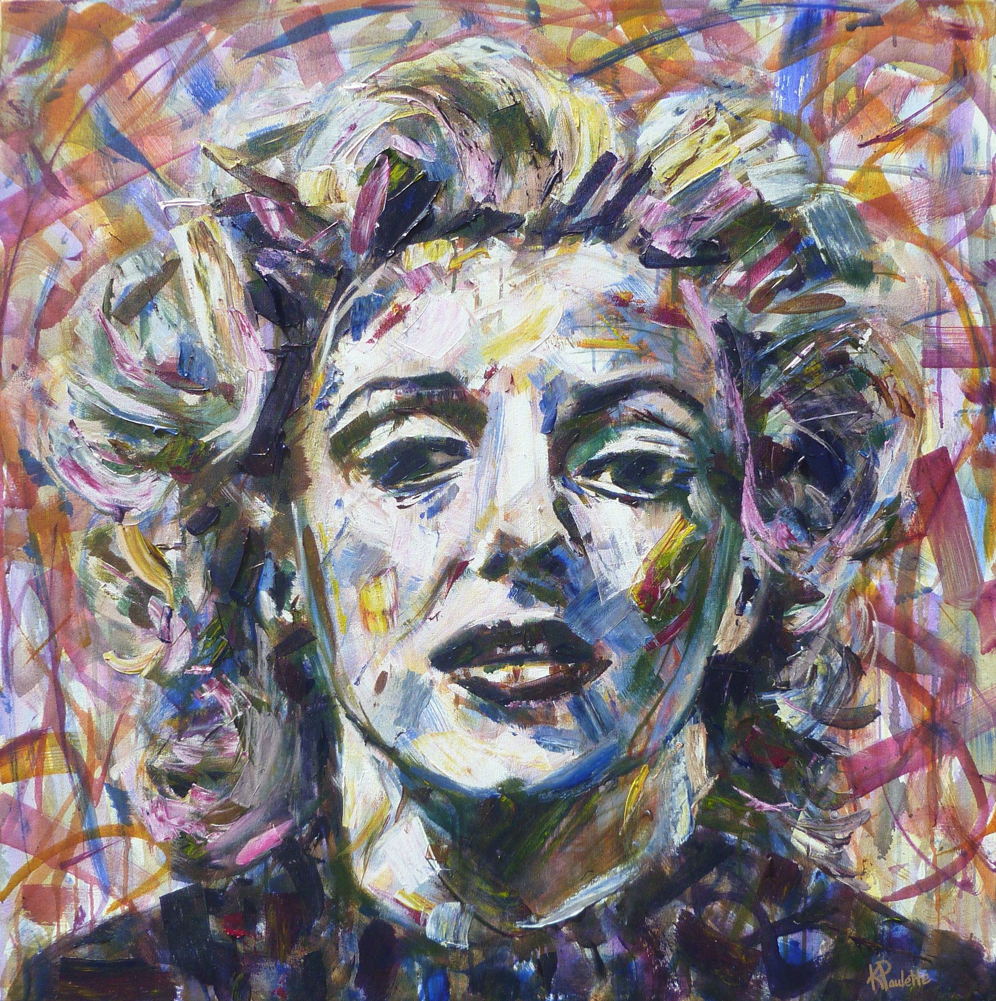 Shades of Marilyn -----  painting by Kent Paulette ( aka derfla ) ----- 42 x 42 inches
