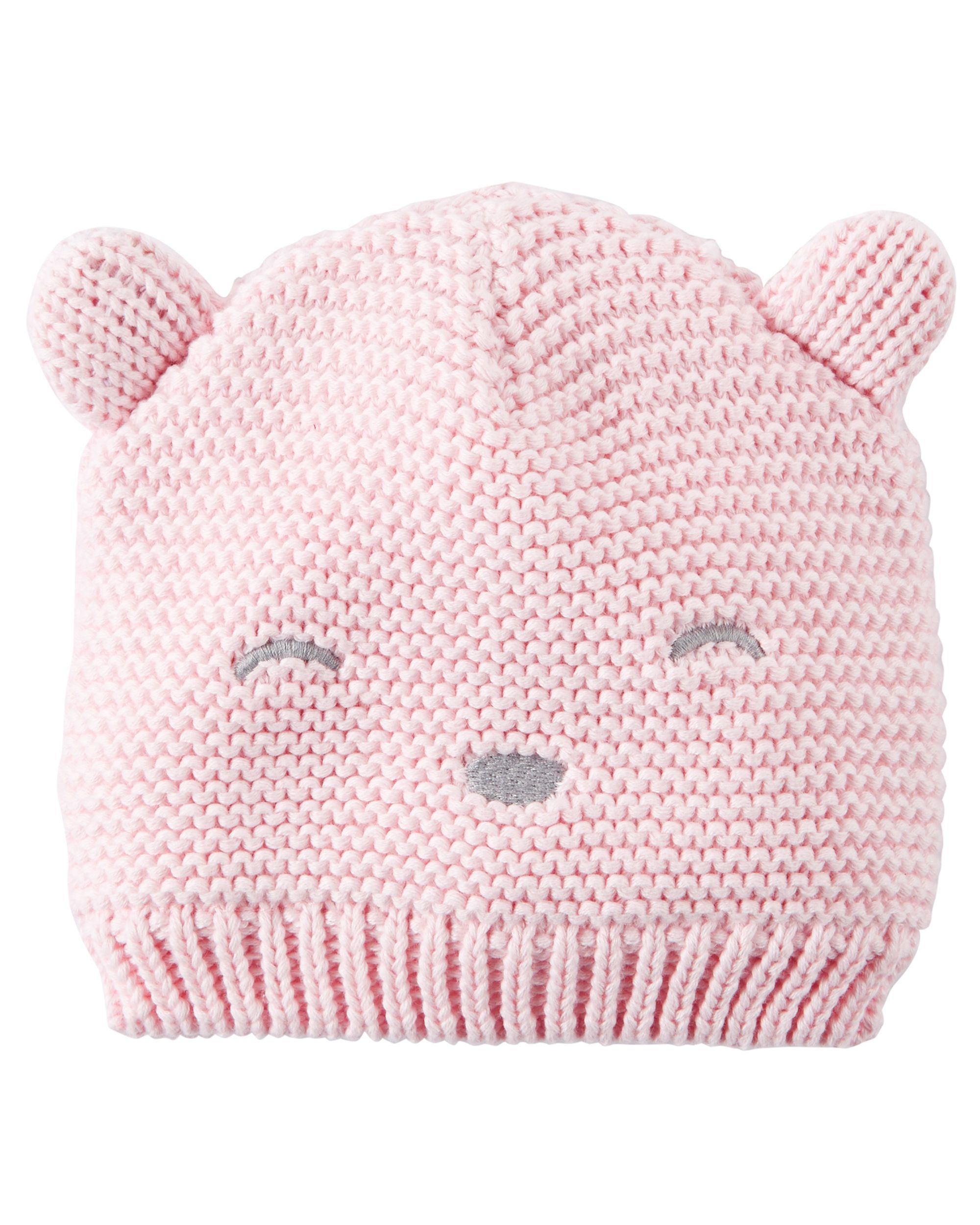 d08a02346 Baby Girl Knit Bear Hat from Carters.com. Shop clothing & accessories from  a trusted name in kids, toddlers, and baby clothes.