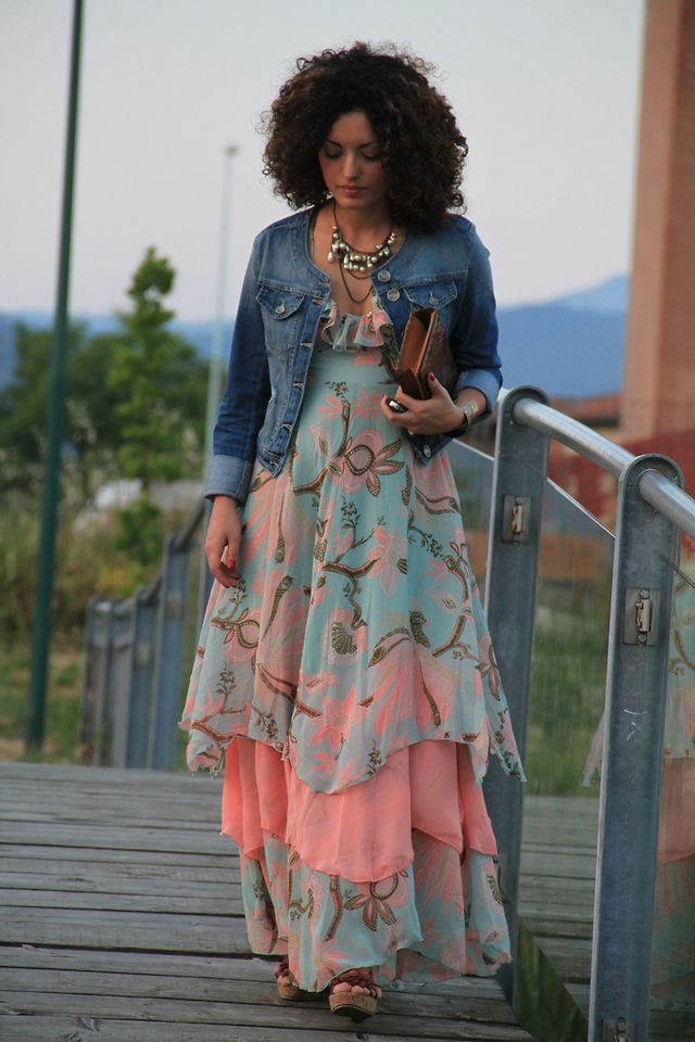 deb40f41786a6 Floral Spaghetti Strap Chiffon Dress paired with a Denim Jean Jacket