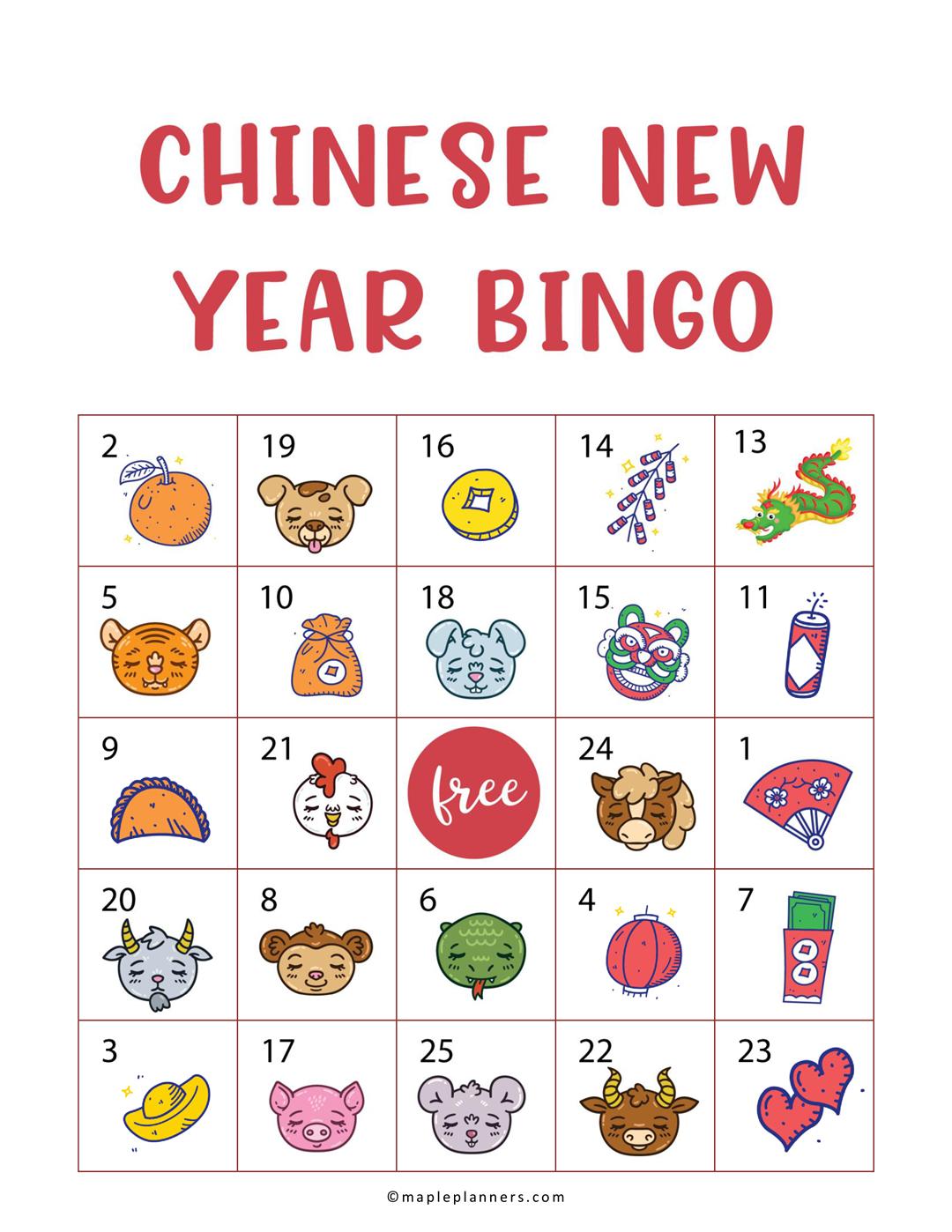 Free Printable Chinese New Years Eve Bingo Fun Activities For Kids In 2021 Bingo Cards Printable Chinese New Year Bingo