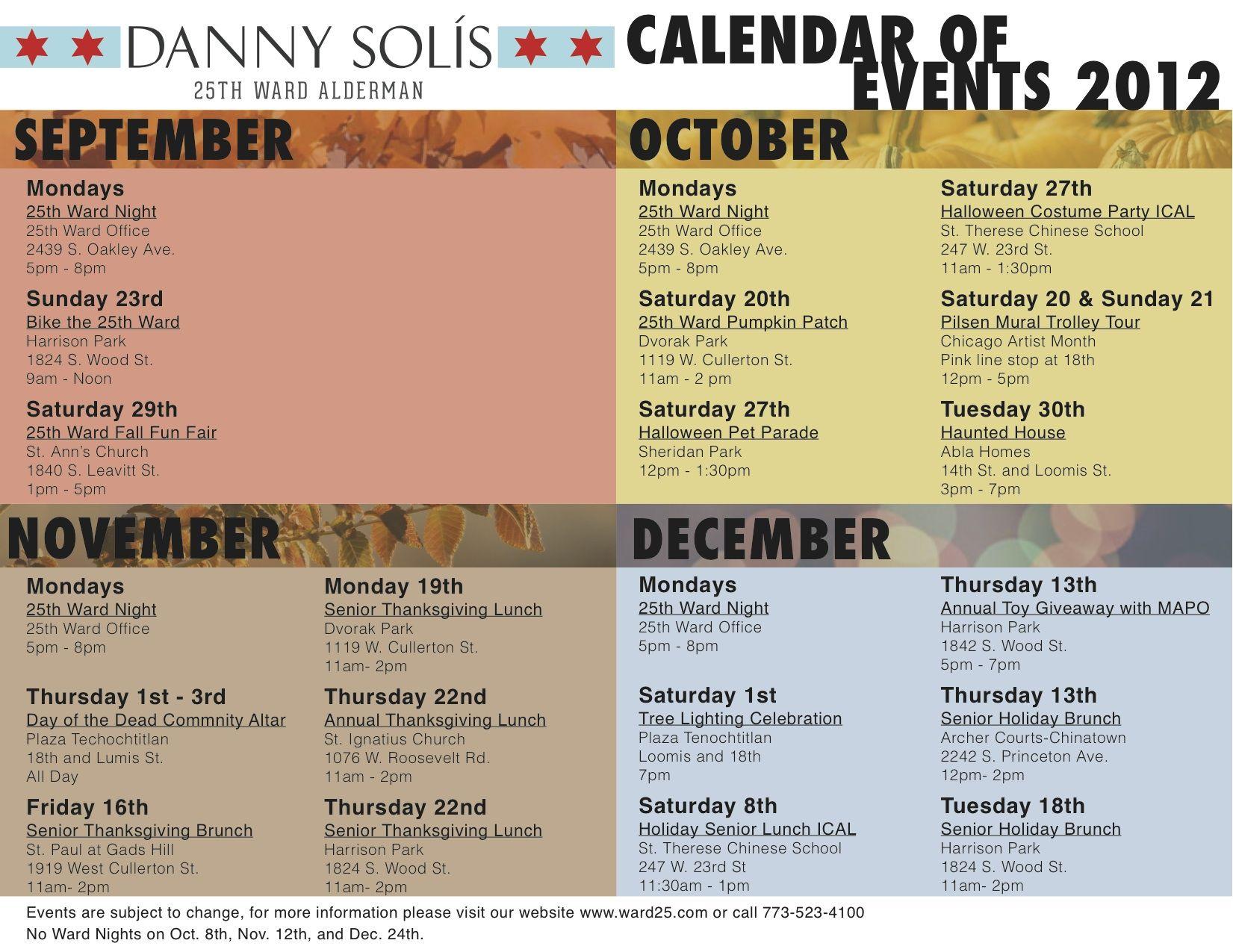 Calendar Of Events : Calendar of events design