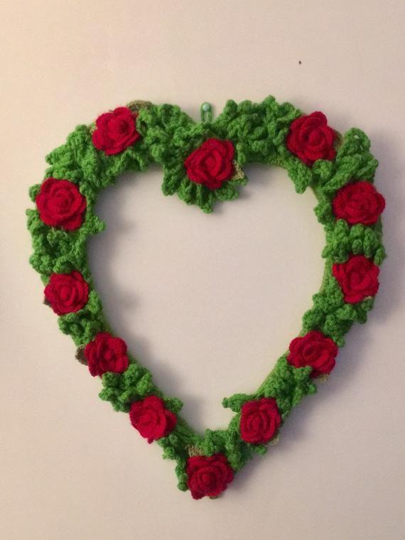 Photo of Christmas wreath – Christmas rose wreath – Crochet wreath vintage rose – large heart wreath – hand made wreaths – crochet wreath –