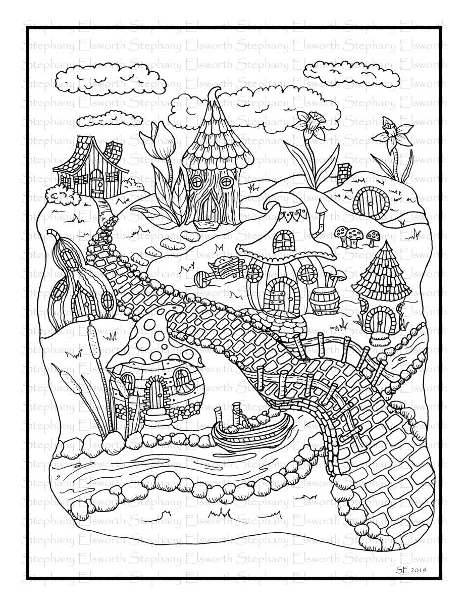 Fairy Village Printable Instant Download Coloring Page ...