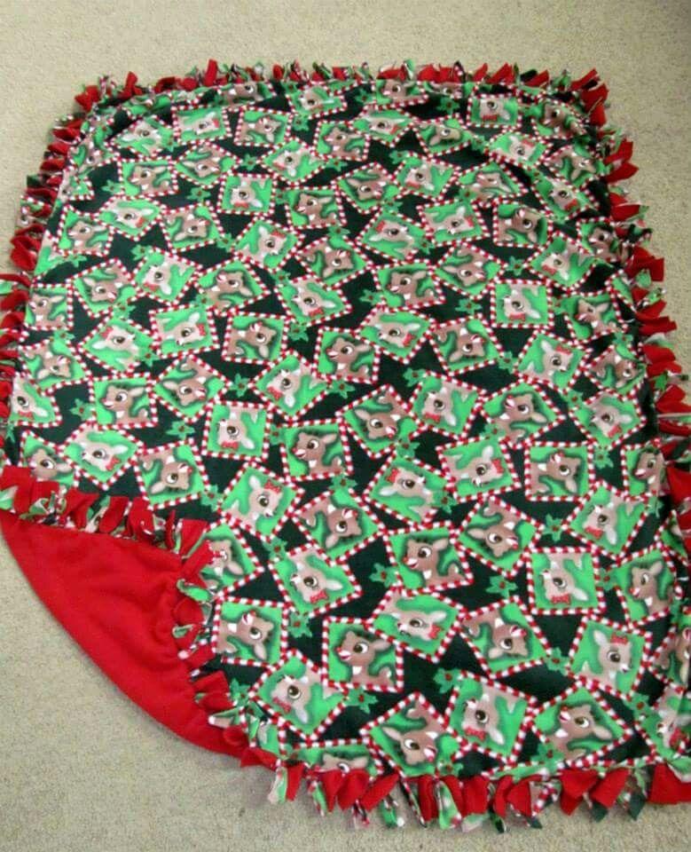 89cfe1194f Rudolph   Clarice w  HD Red back Fleece Tie Blanket