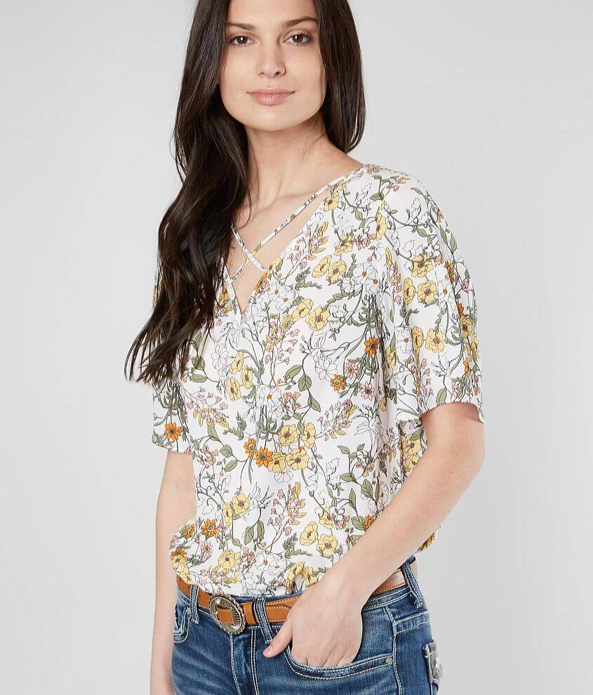 accff3d96fd4d3 Daytrip Strappy Floral Chiffon V-Neck Top - Women's Shirts/Blouses in Ivory  Gold | Buckle