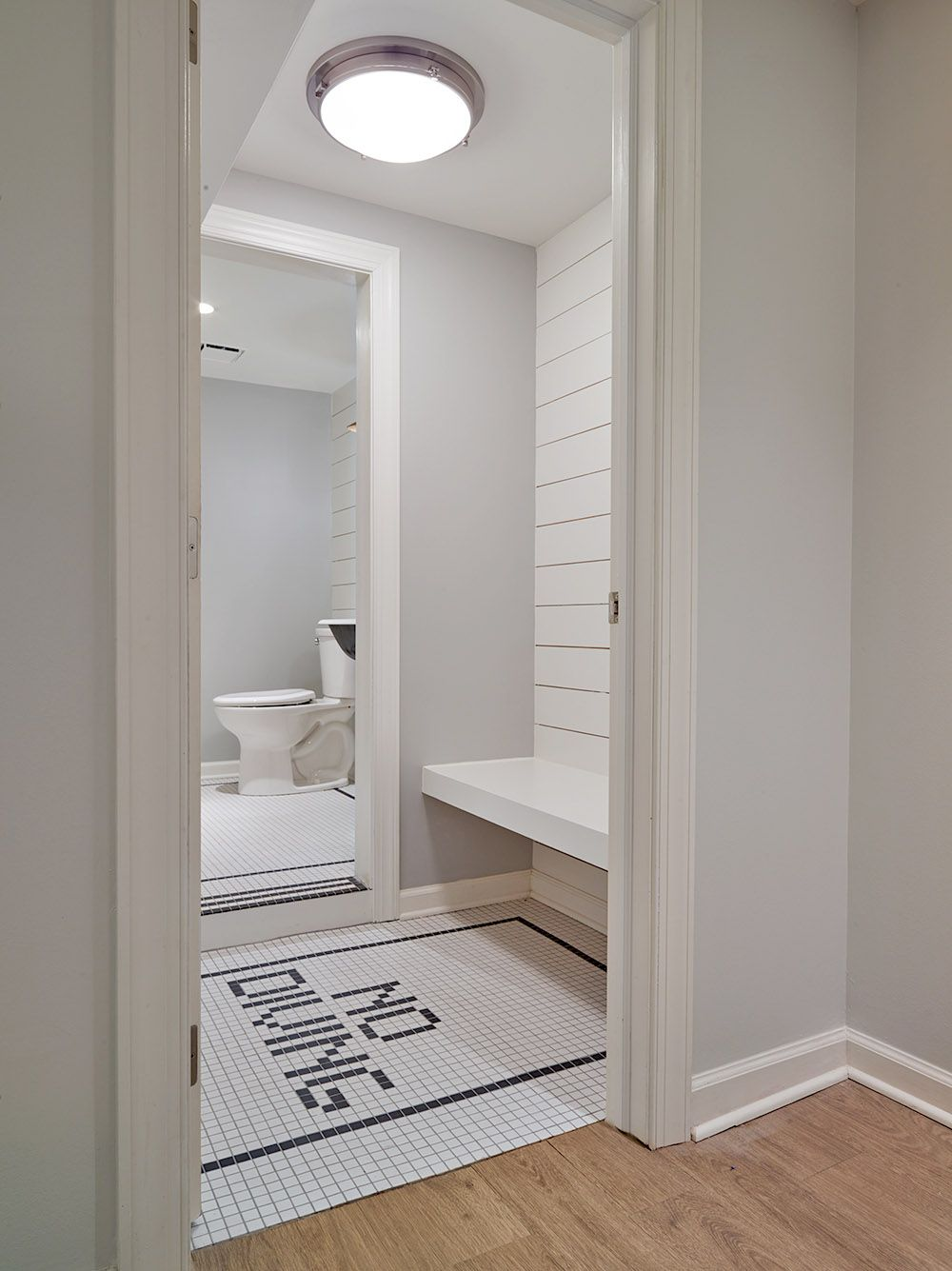 Locker room bathroom design - Nautical Changing Room For Pool House With White Ship Lap And Fun No Diving Floor