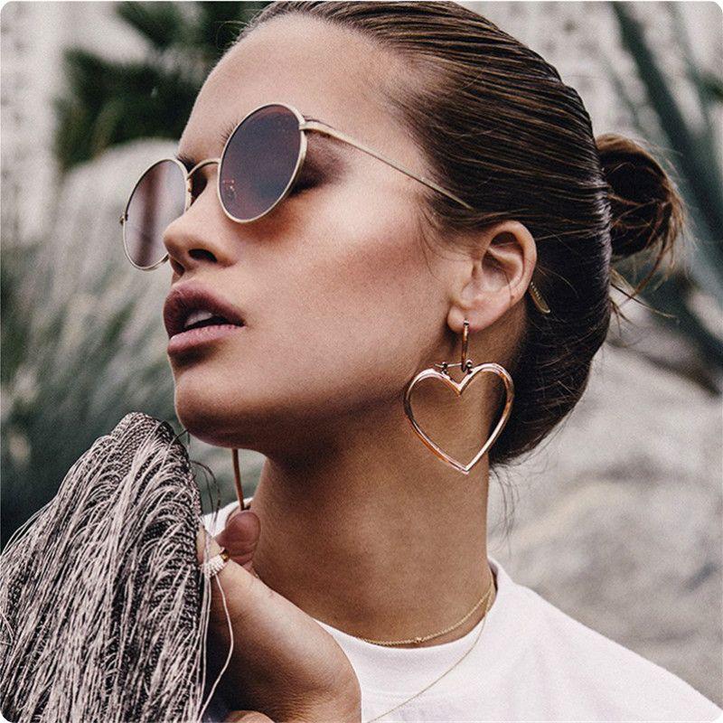 Double Heart Hoop Earrings For Women Gold Rose Large Jewellery Oorbellen Brincos Eh070