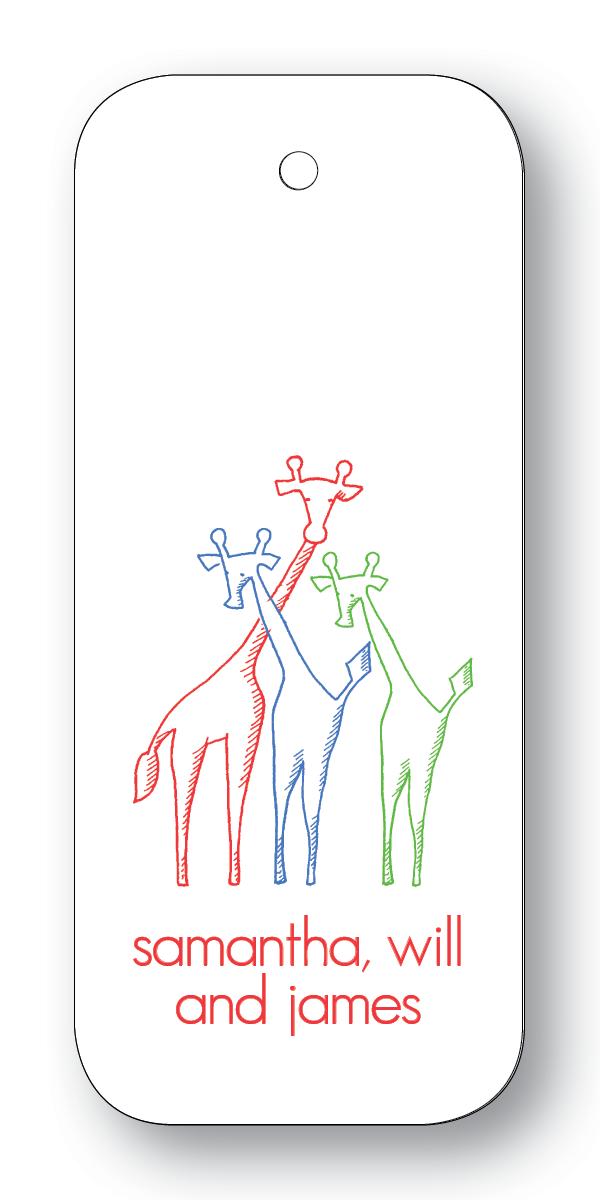 Giraffe Trio - Scarlet, Navy & Clover (Customizable)